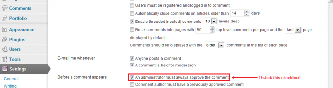How to disable comment moderation in WordPress