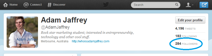 Twitter followers for @AdamJaffrey 2012.08.16 2304
