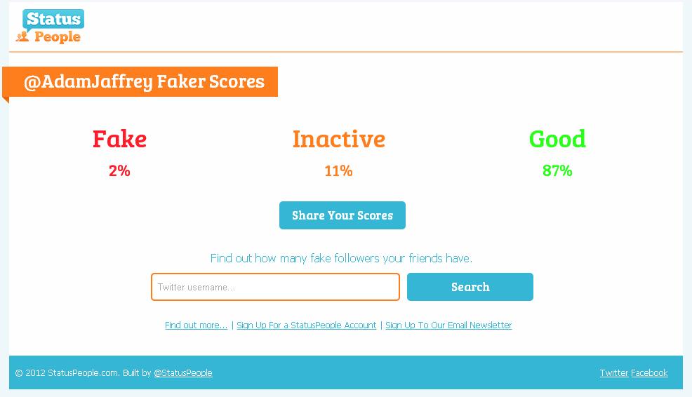 StatusPeople fake follower score for @AdamJaffrey 2012.08.17 1245