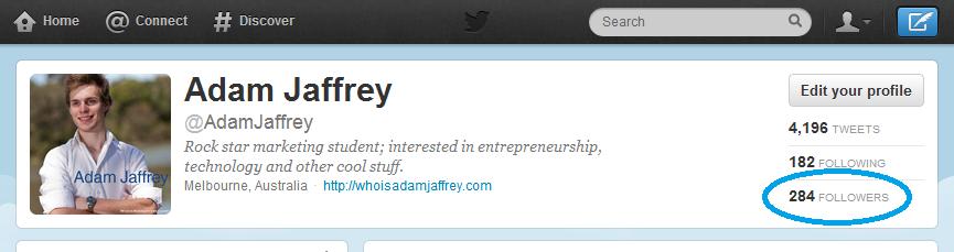 Twitter followers for @AdamJaffrey 2012.08.16 2304